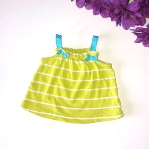 CARTERS 6 MONTH LIME GREEN / WHITE STRIPED TANK TO